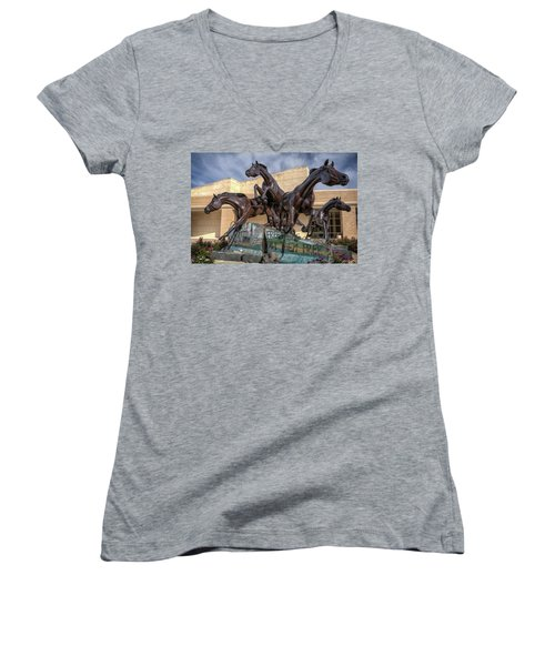 A Monument To Freedom Women's V-Neck T-Shirt (Junior Cut) by Joan Carroll