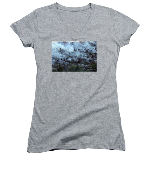 Women's V-Neck T-Shirt (Junior Cut) featuring the photograph A Smoky Slope On White Draw Fire by Bill Gabbert