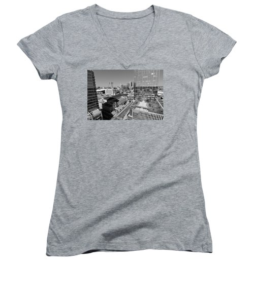 Aerial Photography Downtown Nashville Women's V-Neck T-Shirt (Junior Cut) by Dan Sproul