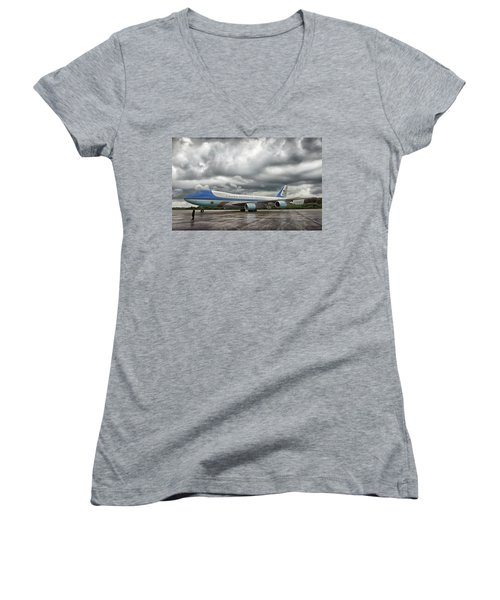 Air Force One Women's V-Neck T-Shirt (Junior Cut) by Mountain Dreams
