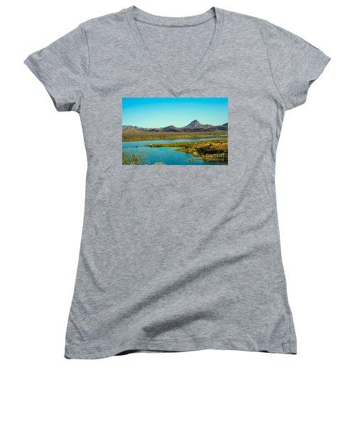 Alamo Lake Women's V-Neck T-Shirt (Junior Cut) by Robert Bales
