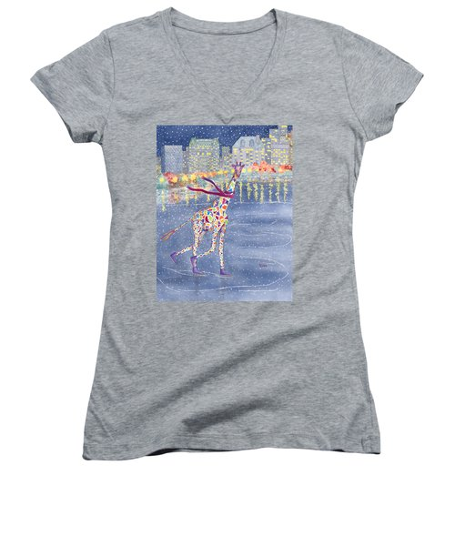 Annabelle On Ice Women's V-Neck T-Shirt (Junior Cut) by Rhonda Leonard
