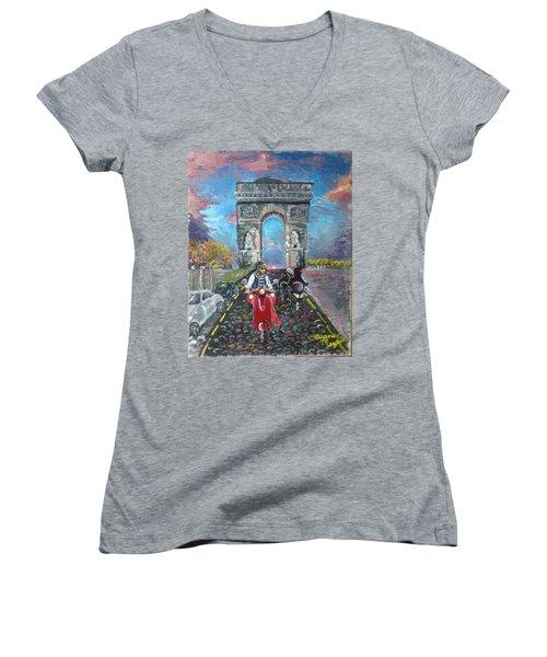 Arc De Triomphe Women's V-Neck T-Shirt (Junior Cut) by Alana Meyers