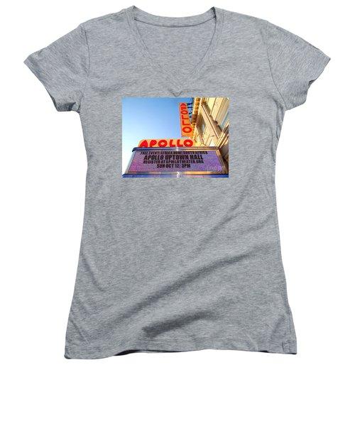 At The Apollo Women's V-Neck T-Shirt (Junior Cut) by Ed Weidman