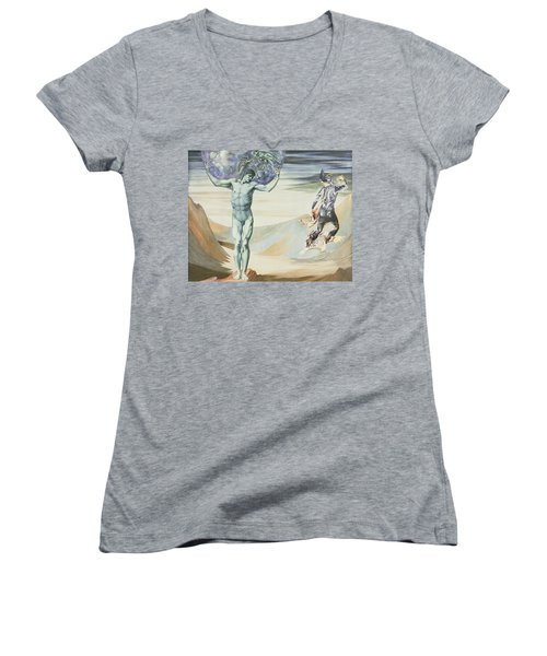 Atlas Turned To Stone, C.1876 Women's V-Neck T-Shirt (Junior Cut) by Sir Edward Coley Burne-Jones