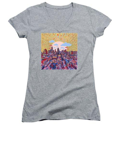 Austin Texas Abstract Panorama 2 Women's V-Neck T-Shirt (Junior Cut) by Bekim Art