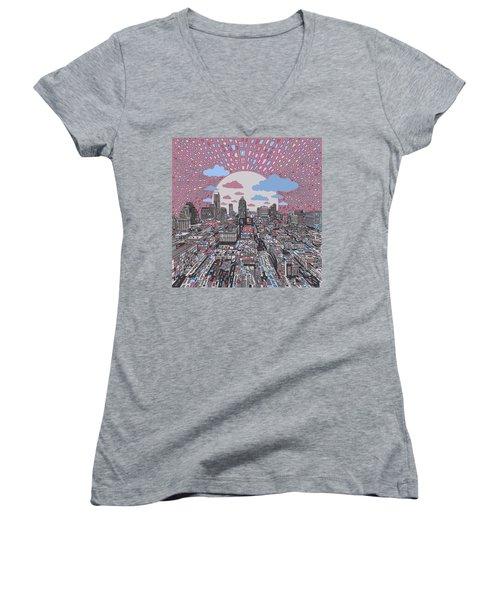 Austin Texas Abstract Panorama 3 Women's V-Neck T-Shirt (Junior Cut) by Bekim Art