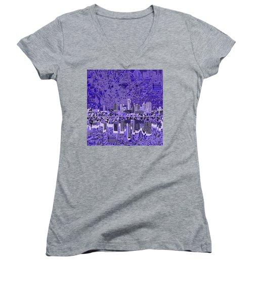 Austin Texas Skyline 4 Women's V-Neck T-Shirt (Junior Cut) by Bekim Art