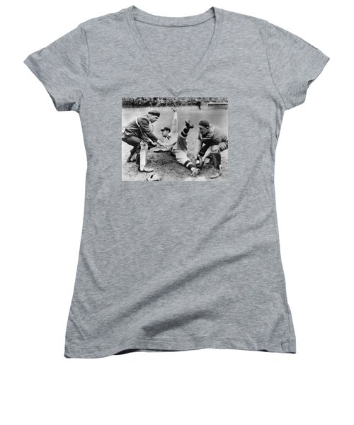 Babe Ruth Slides Home Women's V-Neck T-Shirt (Junior Cut) by Underwood Archives