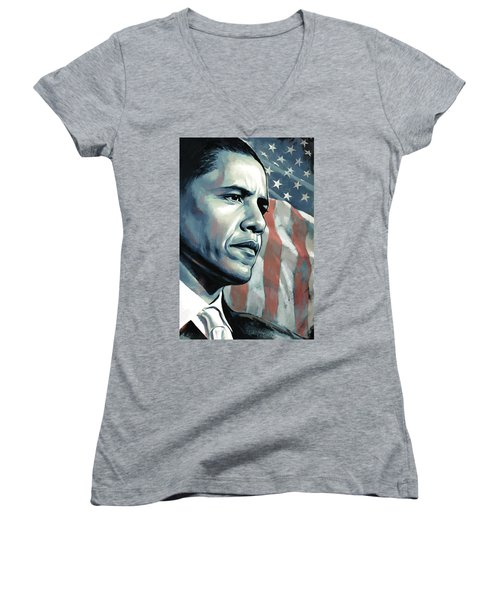 Barack Obama Artwork 2 B Women's V-Neck T-Shirt (Junior Cut) by Sheraz A