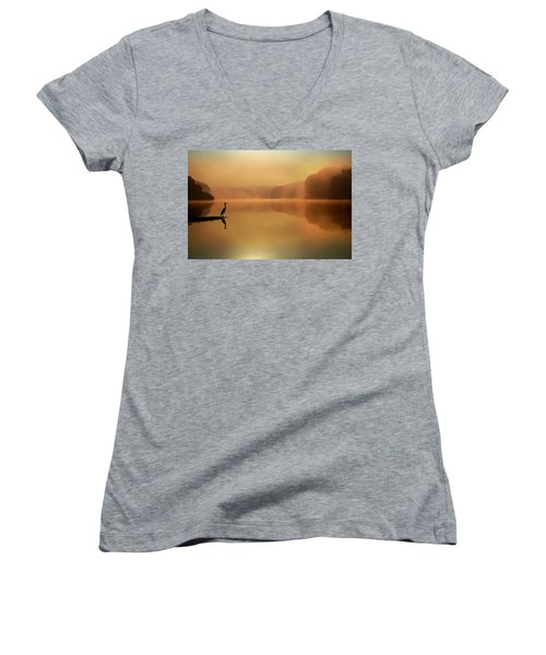 Beside Still Waters Women's V-Neck T-Shirt (Junior Cut) by Rob Blair