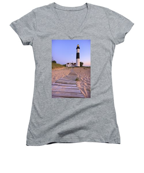 Big Sable Point Lighthouse Women's V-Neck T-Shirt (Junior Cut) by Adam Romanowicz