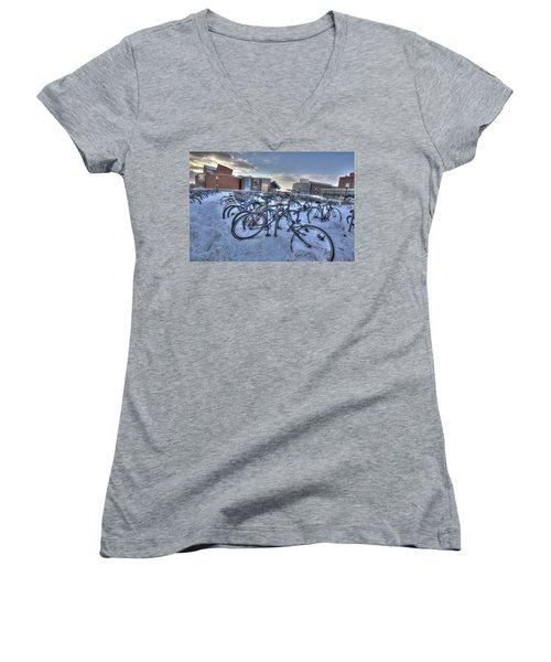 Bikes At University Of Minnesota  Women's V-Neck T-Shirt (Junior Cut) by Amanda Stadther