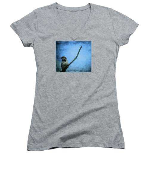 Sparrow On Blue Women's V-Neck T-Shirt (Junior Cut) by Dan Sproul