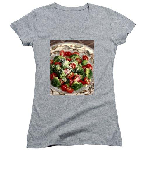 Broccoli And Tomato Salad Women's V-Neck T-Shirt (Junior Cut) by Iris Richardson