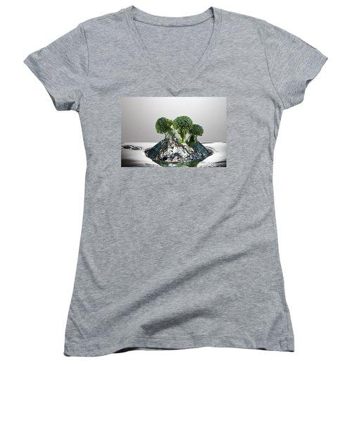Broccoli Freshsplash Women's V-Neck T-Shirt (Junior Cut) by Steve Gadomski