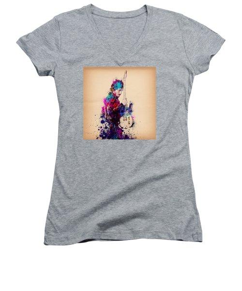 Bruce Springsteen Splats And Guitar Women's V-Neck T-Shirt (Junior Cut) by Bekim Art