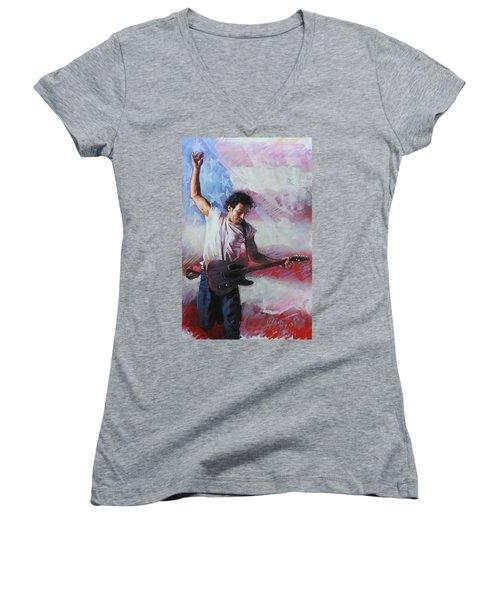 Bruce Springsteen The Boss Women's V-Neck T-Shirt (Junior Cut) by Viola El