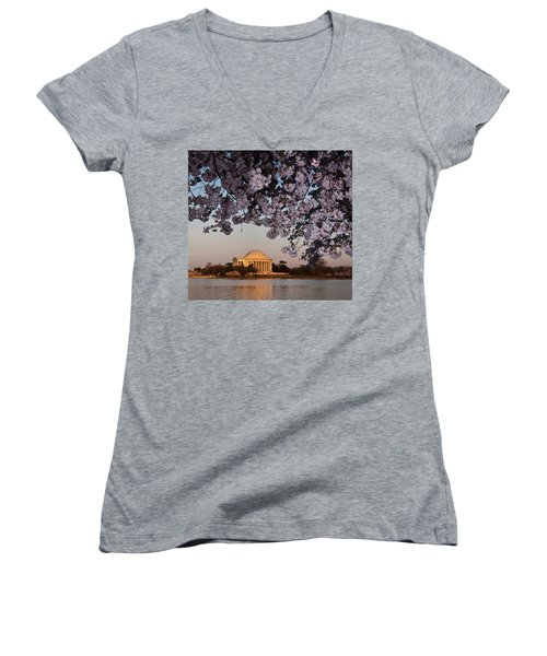 Cherry Blossom Tree With A Memorial Women's V-Neck T-Shirt (Junior Cut) by Panoramic Images