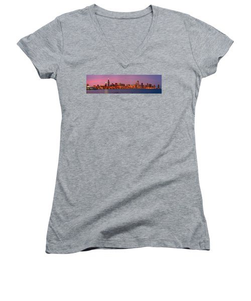 Chicago Skyline At Dusk 2008 Panorama Women's V-Neck T-Shirt (Junior Cut) by Jon Holiday