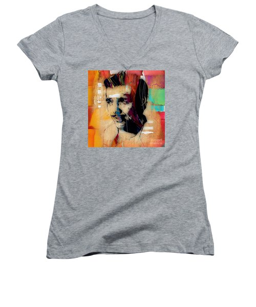 Clark Gable Collection Women's V-Neck T-Shirt (Junior Cut) by Marvin Blaine