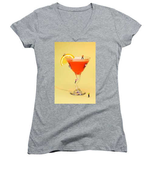 Climbing On Red Wine Cup Women's V-Neck T-Shirt (Junior Cut) by Paul Ge