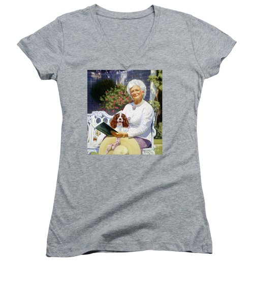Companions In The Garden Women's V-Neck T-Shirt (Junior Cut) by Candace Lovely