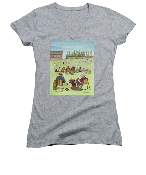 Cricket On The Green, 1987 Watercolour On Paper Women's V-Neck T-Shirt (Junior Cut) by Gillian Lawson