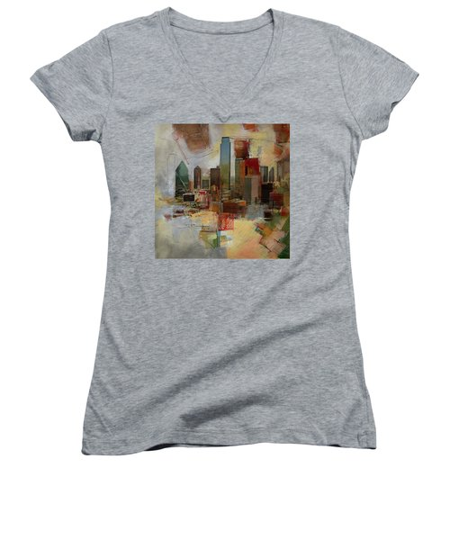 Dallas Skyline 003 Women's V-Neck T-Shirt (Junior Cut) by Corporate Art Task Force