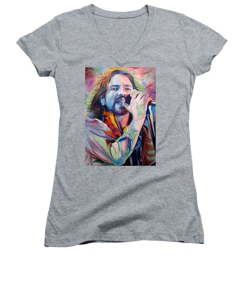 Eddie Vedder In Pink And Blue Women's V-Neck T-Shirt (Junior Cut) by Joshua Morton