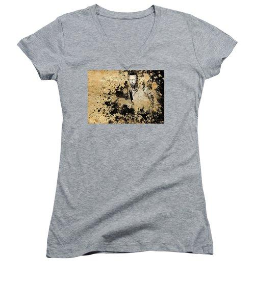 Eric Clapton 3 Women's V-Neck T-Shirt (Junior Cut) by Bekim Art