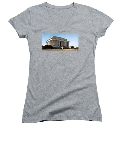 Facade Of The Lincoln Memorial, The Women's V-Neck T-Shirt (Junior Cut) by Panoramic Images