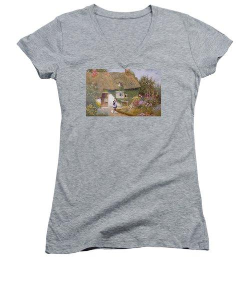 Feeding The Pigeons Women's V-Neck T-Shirt (Junior Cut) by Arthur Claude Strachan