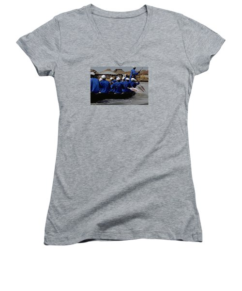 Women's V-Neck T-Shirt (Junior Cut) featuring the photograph Ganvie - Lake Nokoue by Travel Pics