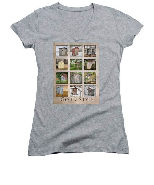 Go In Style - Outhouses Women's V-Neck T-Shirt (Junior Cut) by Lori Deiter