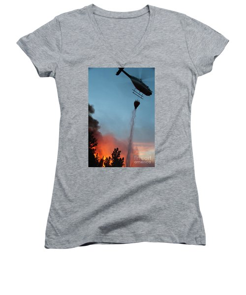 Women's V-Neck T-Shirt (Junior Cut) featuring the photograph Helicopter Drops Water On White Draw Fire by Bill Gabbert
