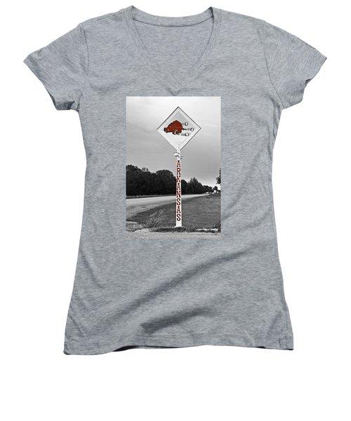 Hog Sign Women's V-Neck T-Shirt (Junior Cut) by Scott Pellegrin