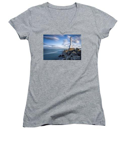 Huron Harbor Lighthouse Women's V-Neck T-Shirt (Junior Cut) by James Dean