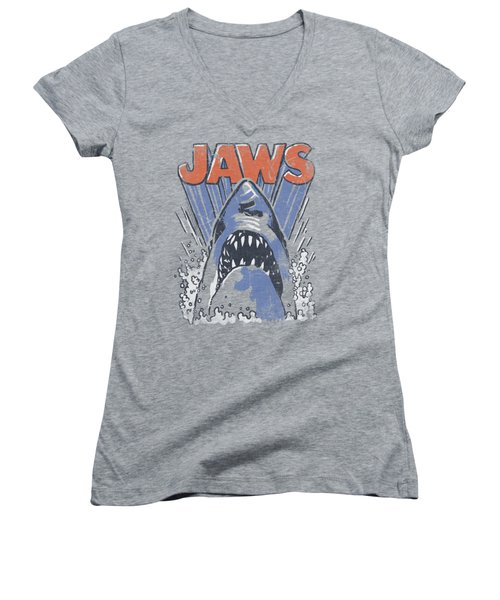Jaws - Comic Splash Women's V-Neck T-Shirt (Junior Cut) by Brand A
