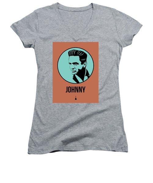 Johnny Poster 1 Women's V-Neck T-Shirt (Junior Cut) by Naxart Studio