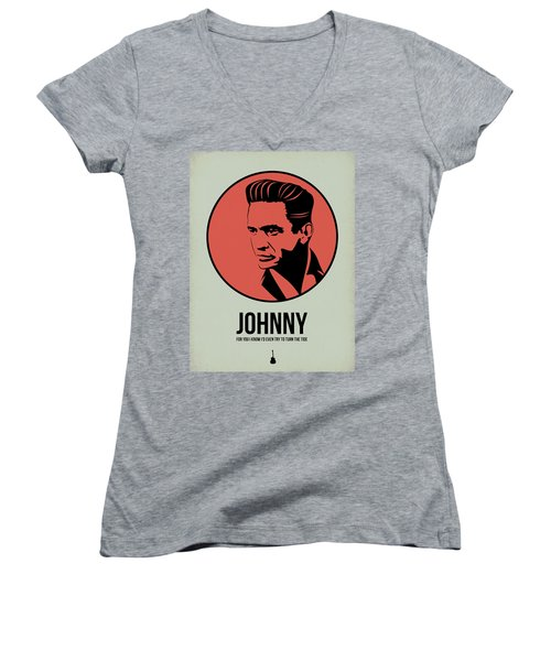 Johnny Poster 2 Women's V-Neck T-Shirt (Junior Cut) by Naxart Studio
