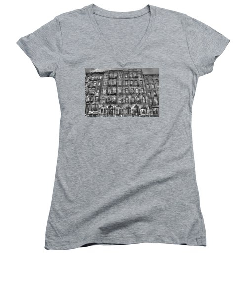 Led Zeppelin Physical Graffiti Building In Black And White Women's V-Neck T-Shirt (Junior Cut) by Randy Aveille