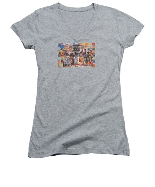Led Zeppelin Years Collage Women's V-Neck T-Shirt (Junior Cut) by Donna Wilson