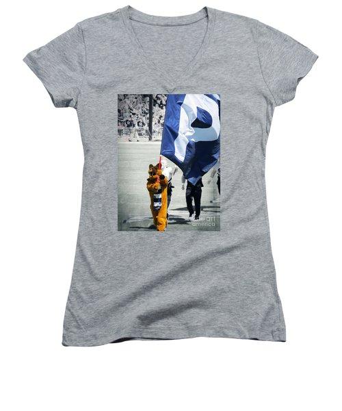 Lion Leading The Team Women's V-Neck T-Shirt (Junior Cut) by Dawn Gari