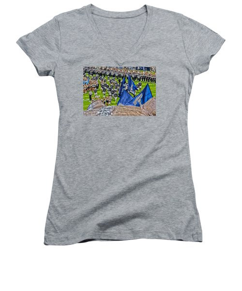 Lion Watching The Entrance Women's V-Neck T-Shirt (Junior Cut) by Tom Gari Gallery-Three-Photography