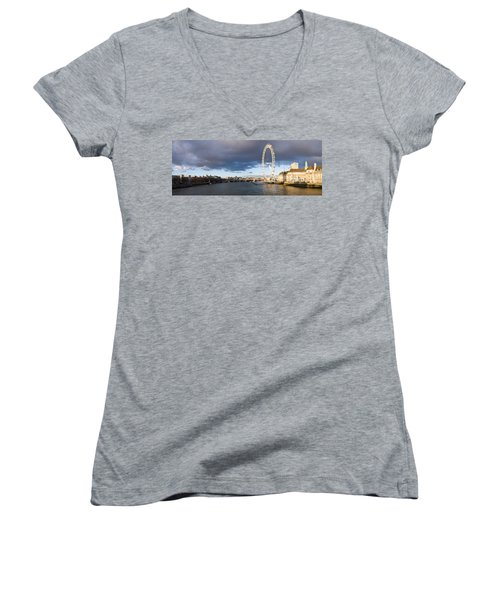 London Eye At South Bank, Thames River Women's V-Neck T-Shirt (Junior Cut) by Panoramic Images