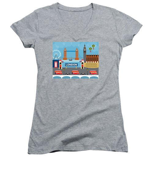 London England Skyline Style O-lon Women's V-Neck T-Shirt (Junior Cut) by Karen Young