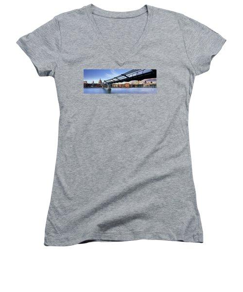 Millennium Bridge London 1 Women's V-Neck T-Shirt (Junior Cut) by Rod McLean