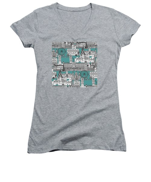 London Toile Blue Women's V-Neck T-Shirt (Junior Cut) by Sharon Turner