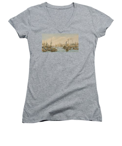 Looking Towards London Bridge Women's V-Neck T-Shirt (Junior Cut) by William Parrot